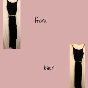 Black dress with gold accent belt